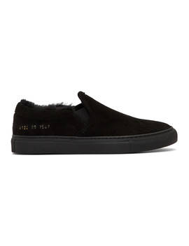 Black Shearling Slip On Sneakers by Woman By Common Projects