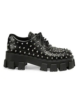 Lug Sole Studded Leather Creepers by Prada