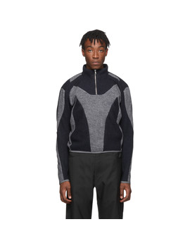 Grey & Navy Felt Artis Zip Up Pullover by Gmbh