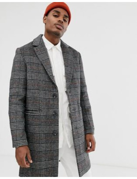 Asos Design Wool Mix Overcoat In Grey Check by Asos Design