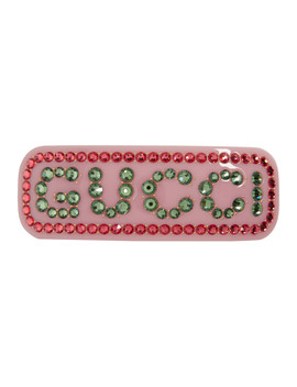 Pink Large Crystal Barrette by Gucci