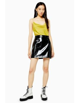 Black Faux Leather Vinyl Mini Skirt by Topshop