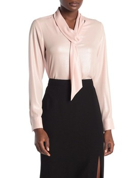Long Sleeve Neck Tie Blouse by Calvin Klein