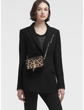 Blazer With Faux Leather Trim by Donna Karan