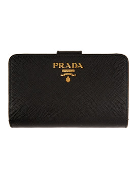 Black Saffiano Continental Wallet by Prada