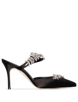 Lurum 90mm Crystal  Embellished Satin Mules by Manolo Blahnik