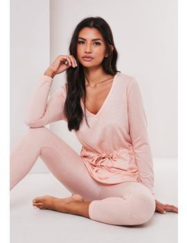 Blush Soft Touch Tie Waist Pyjama Set by Missguided