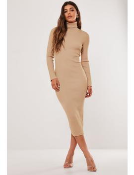Camel Roll Neck Ribbed Knitted Midi Dress by Missguided