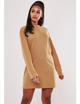 Camel Basic Long Sleeve T Shirt Dress by Missguided