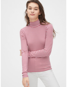 Stripe Ribbed Turtleneck Top In Modal by Gap
