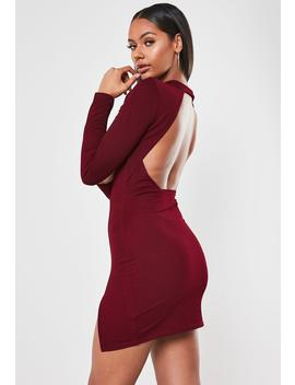 Burgundy High Neck Open Back Mini Dress by Missguided
