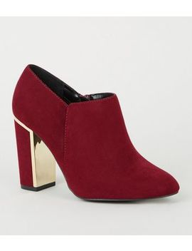 Wide Fit Dark Red Metal Trim Shoe Boots by New Look