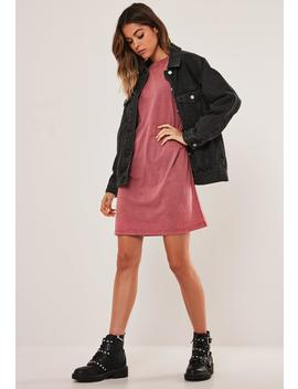 Red Oversized Acid Wash T Shirt Dress by Missguided
