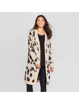 Women's Leopard Print Long Sleeve Open Cardigan   Knox Rose™ White by Knox Rose