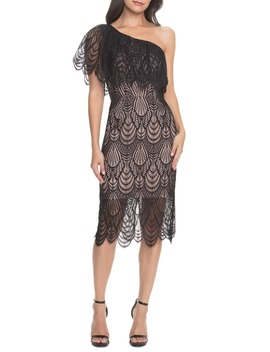Violet One Shoulder Lace Sheath Dress by Dress The Population