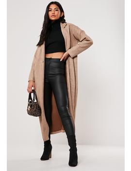 Premium Brown Faux Suede Trench Coat by Missguided