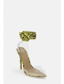 Lime Snake Print Ankle Buckle Clear Court Heels by Missguided