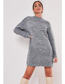 Tall Gray High Neck Mini Sweater Dress by Missguided