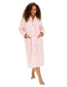 Button Fleece Gown L48 by Simply Be