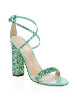 Glitter Block Heel Sandals by Giuseppe Zanotti