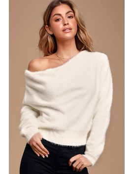 Care For You White Eyelash Knit Cowl Neck Reversible Sweater by Lulus