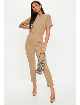 Camel Rib Pocket Jumpsuit by Missguided