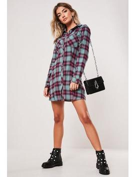 Green Check A Line Shirt Dress by Missguided