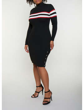 Ribbed Stripe Detail Sweater Dress by Rainbow