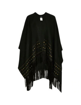 Black Studded Tassel Trim Cape by River Island