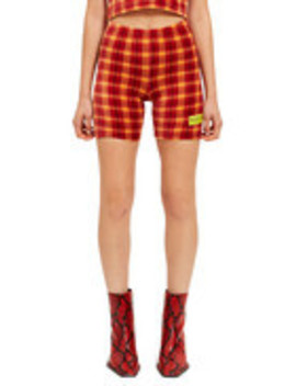 Velour Plaid Biker Short by Made Me
