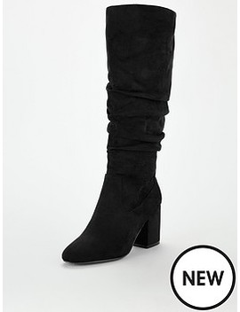 Tanya Wide Fit Block Heel Slouch Knee Boots   Black by V By Very