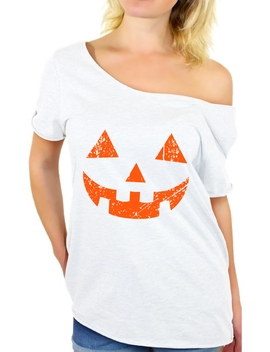 Awkward Styles Jack O' Lantern Off Shoulder Shirt Women's Halloween Pumpkin Baggy Tshirt Halloween Shirts For Women Pumpkin Face Oversized Shirt Halloween Party Outfit Cute Holiday Gifts For Her by Awkward Styles