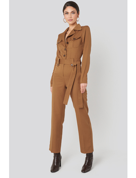 Front Pocket Tied Waist Jumpsuit Brun by Na Kd Trend