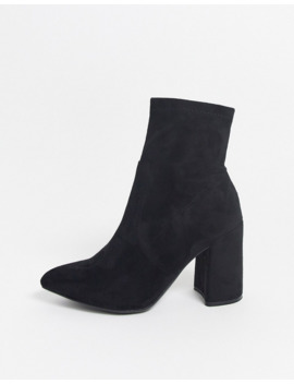 New Look Wide Fit Suedette Pointed Heeled Sock Boots In Black by New Look