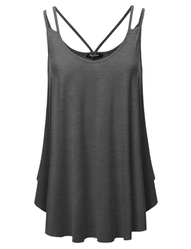 Ssoulm Women's Loose Fit Flowy V Neck Sexy Pleated Cami Tank Top With Plus Size by Ssoulm