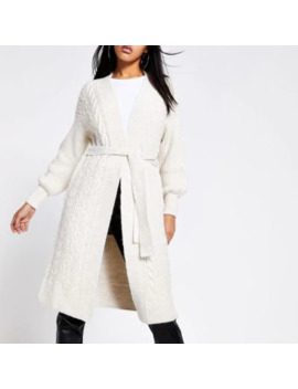 Cream Cable Knitted Tie Belted Maxi Cardigan by River Island