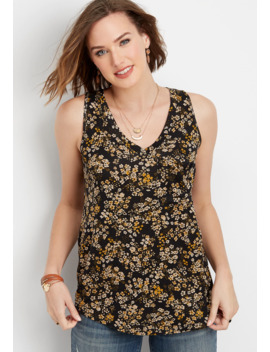 24/7 Ditsy Floral V Neck Pocket Tank by Maurices