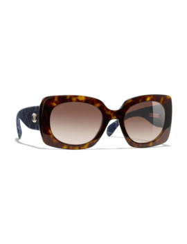 Chanel Rectangular Sunglasses Ch5406 Dark Havana/Brown Gradient by Chanel