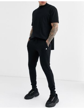 Asos Design Super Skinny Joggers In Black With Triangle by Asos Design