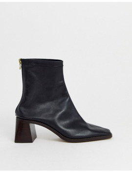 Asos Design Wide Fit Riverside Premium Leather Mid Heel Sock Boots In Black by Asos Design