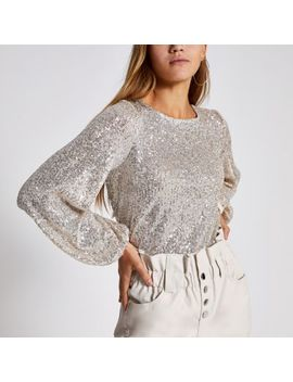 Silver Sequin Long Sheer Balloon Sleeve Top by River Island