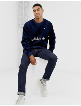 Adidas Originals Samstag Premium Cord Sweatshirt In Navy by Adidas Originals