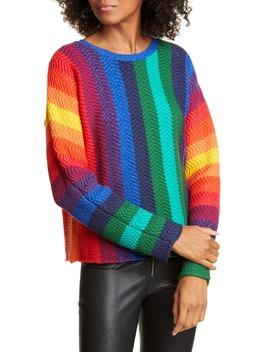 Dessie Stripe Racked Wool Blend Sweater by Alice + Olivia