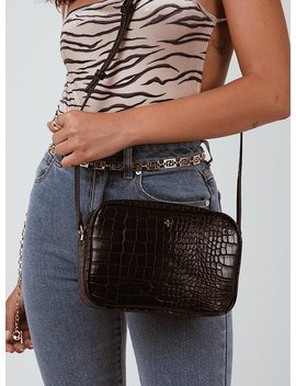 Peta & Jain Gracie Shoulder Bag Black Croc by Peta And Jain