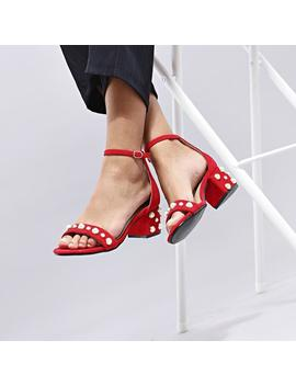 Pearl Low Block Heel Sandal In Red Suede by Koi Footwear