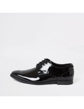 Boys Black Patent Pointed Toe Shoes by River Island