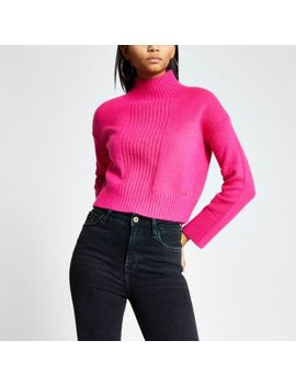 Pink High Neck Cropped Knitted Jumper by River Island