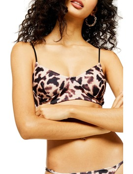 Giraffe Print Ribbed Longline Bikini Top by Topshop
