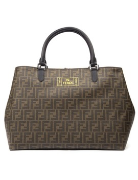 Fendi Brown And Yellow Shopping Bag With Monogram by Fendi