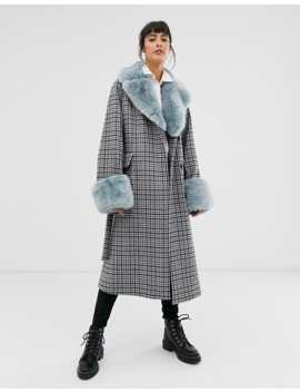 Whistles Faux Fur Collar Check Coat by Whistles
